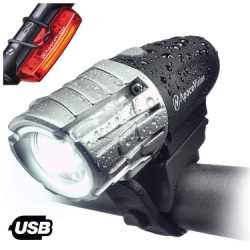Best Bicycle Light - Eagle Eye USB Rechargeable Bike Light Set by Apace Vision