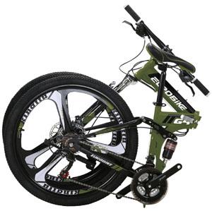 EUROBIKE G4 Mountain Bike 26 Inches 3 Spoke Dual Suspension Folding Bike 21 Speed MTB