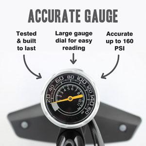 Vibrelli Performance Bike Floor Pump - Pressure Gauge